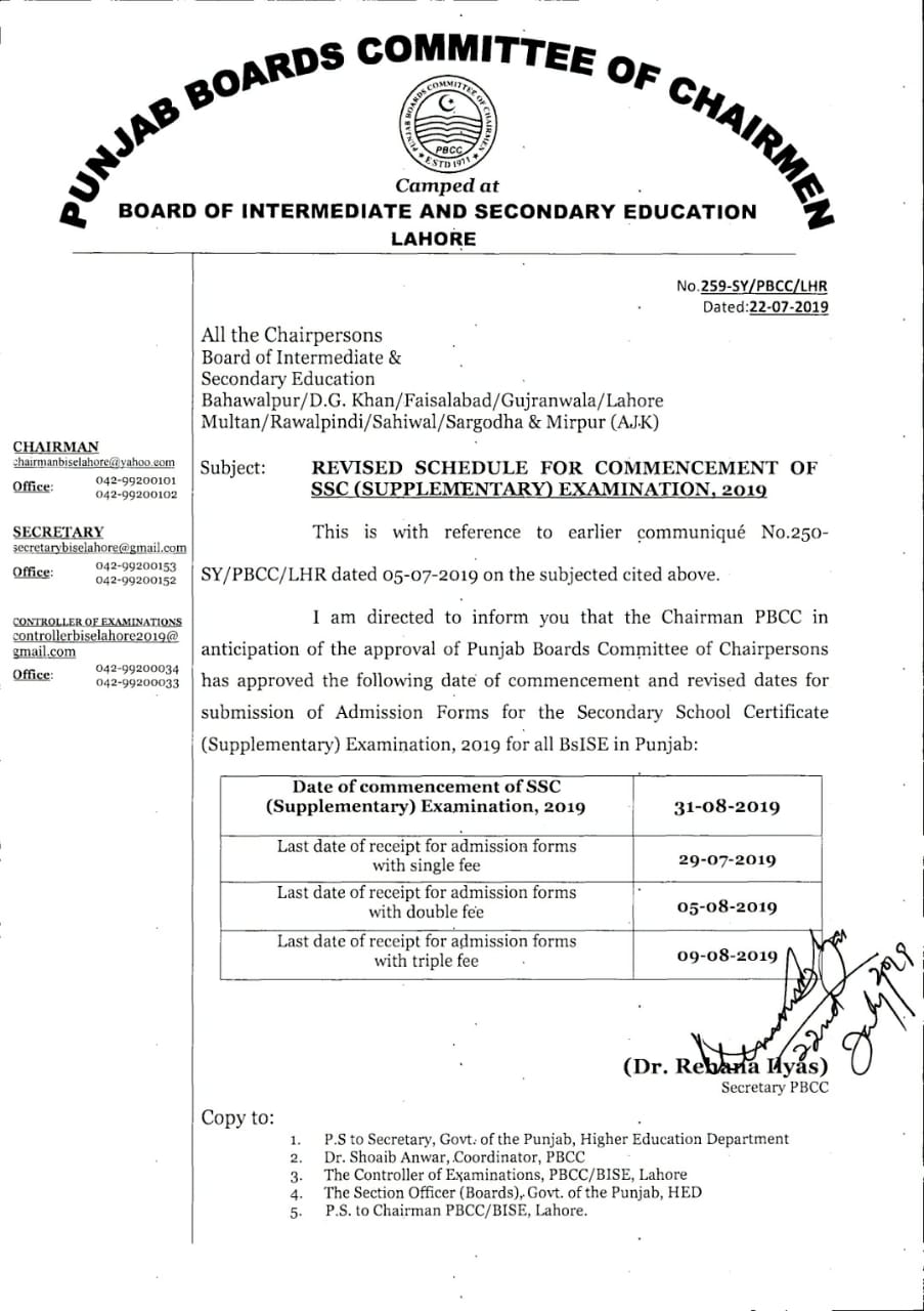 SSC Supplementary Exam