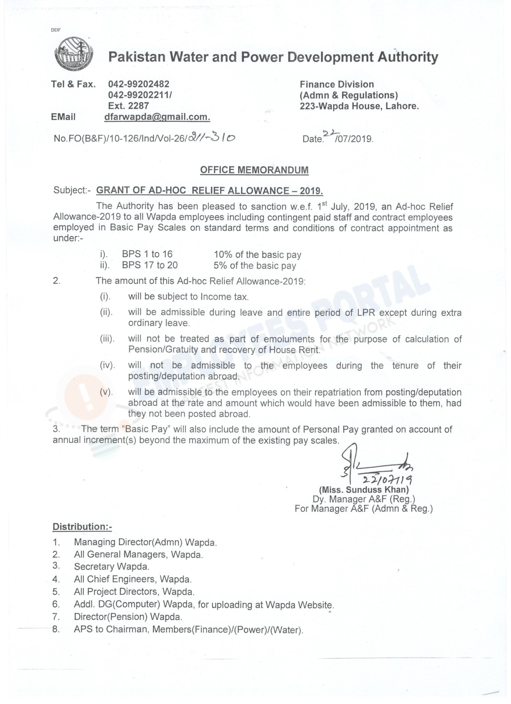 WAPDA Adhoc Relief Allowance 2019