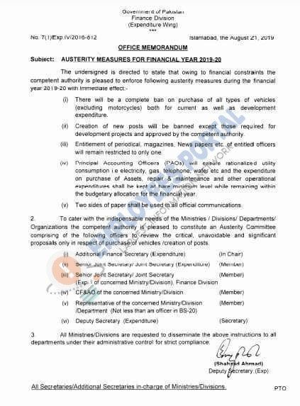 Austerity Measures for Financial Year 2019-20