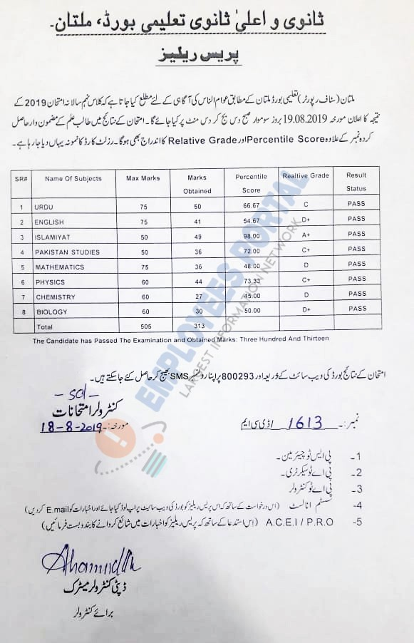BISE Multan 9th Class Result is to be announced on Monday 19 August, 2019
