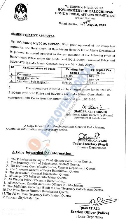 Balochistan Police Constables, Head Constable and ASI Upgradation Notification 2019