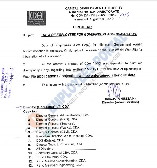 CDA Data of Employees for Government Accommodation 2019