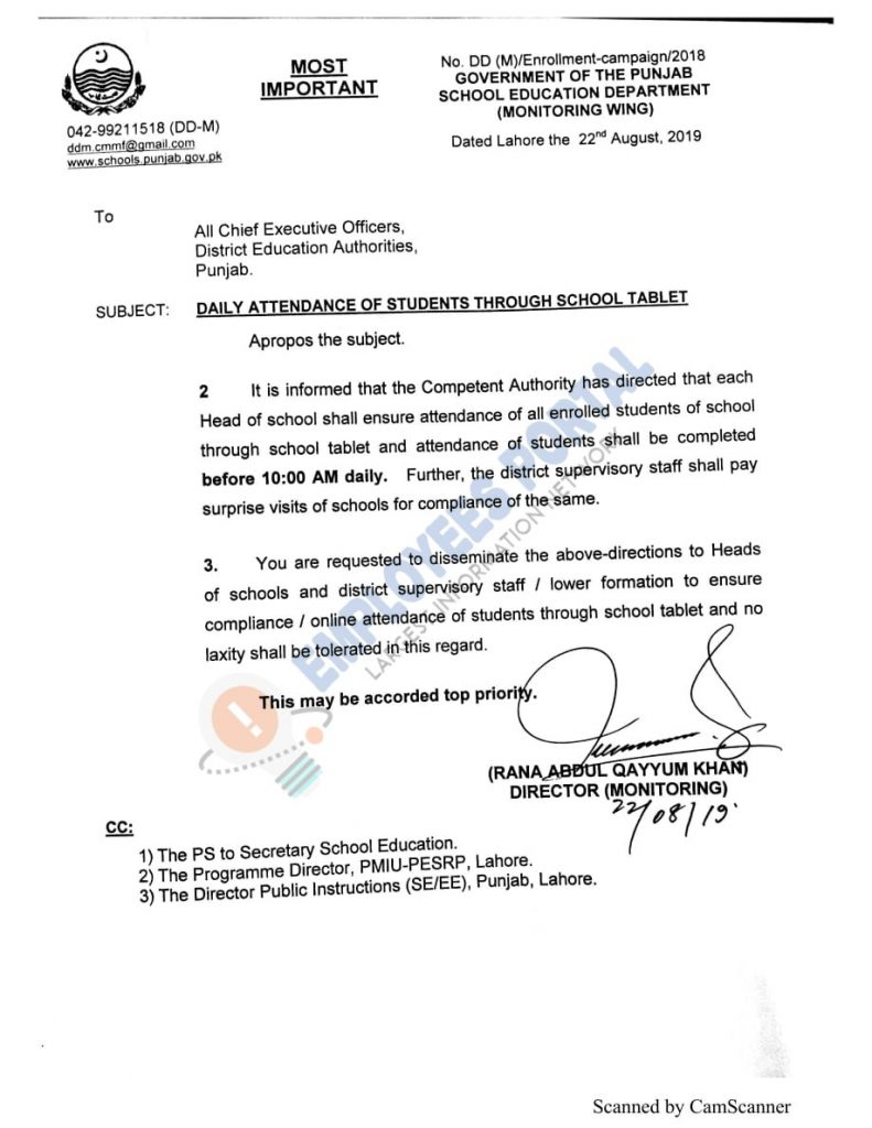 Daily Attendance Of Students Through School Tablet Education Department Punjab
