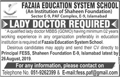 Latest Jobs Islamabad Fazaia Education System School 22 August 2019