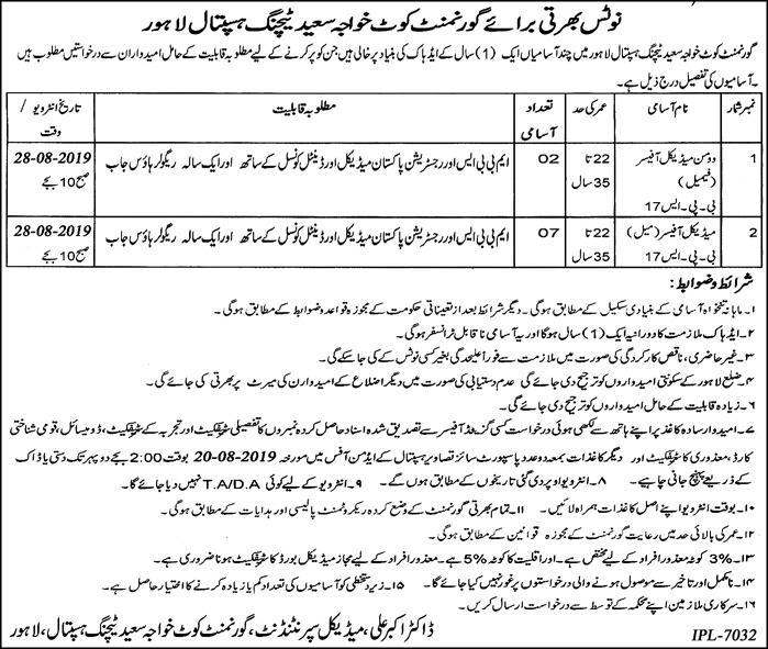 Govt Kot Khawaja Saeed Teaching Hospital Jobs