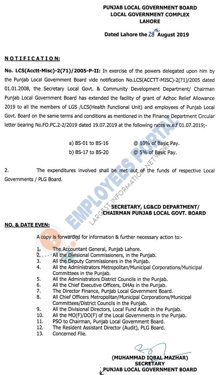 Grant of Adhoc Relief Allowance 2019 for Health Functional Unit & Local Govt Employees