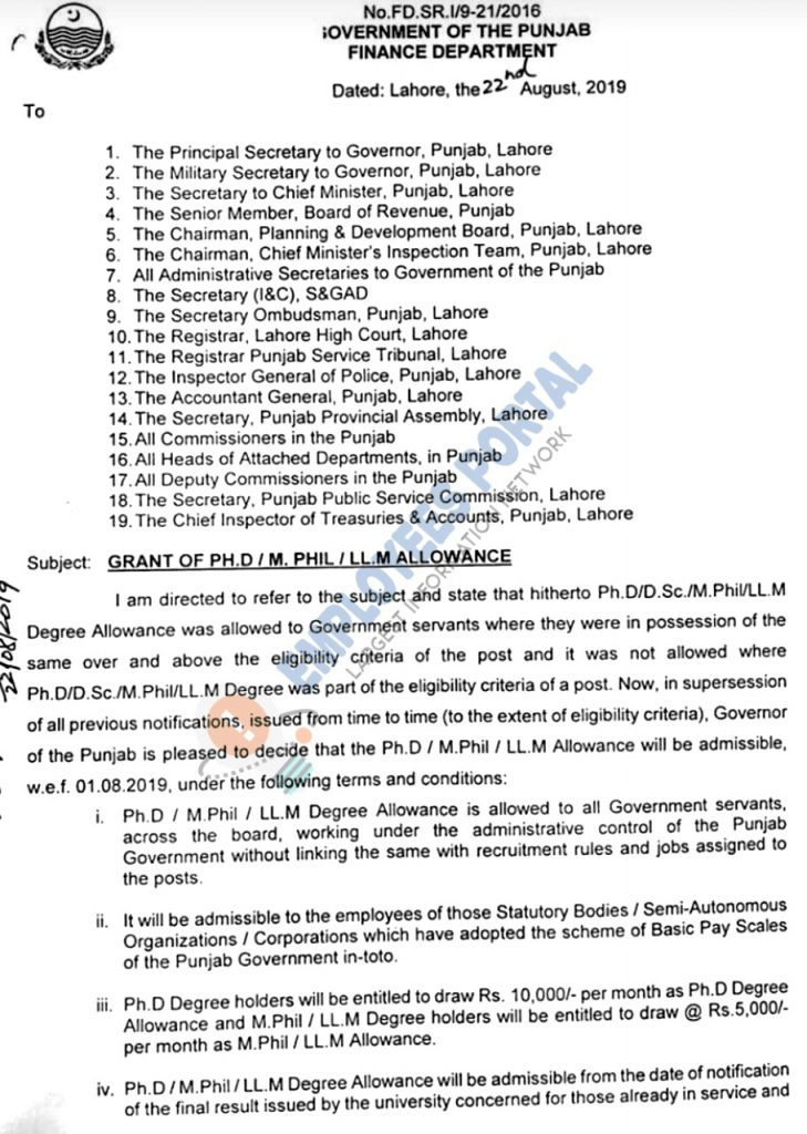 Grant of PhD / M.PHIL / LL.M Allowance for Punjab Govt Employees