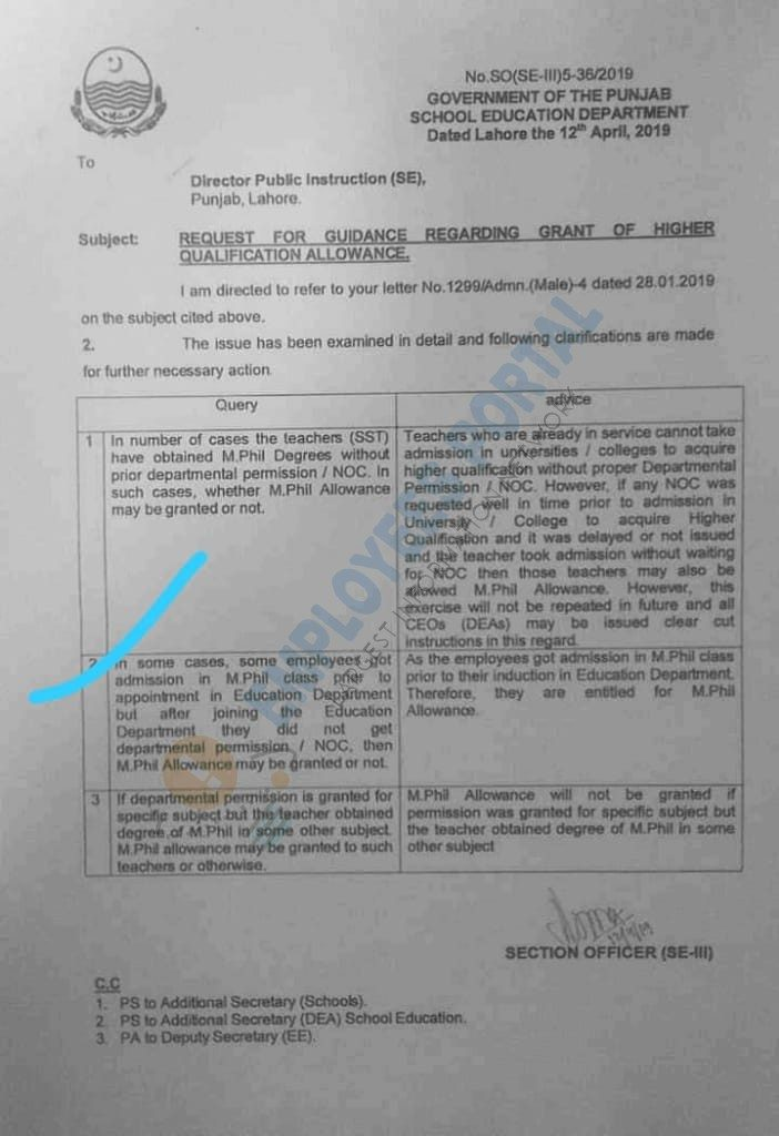 Qualification Pay Allowance Guidance Notification 2019