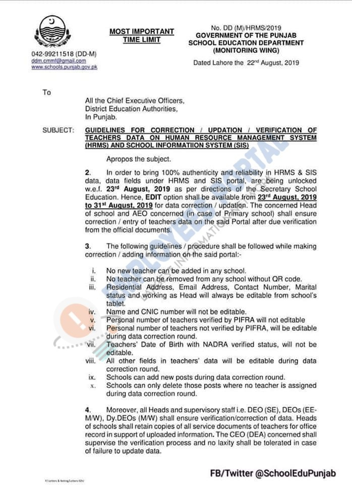 Guidelines for Correction/Updation/Verification of Teachers Data on HRMS and SIS