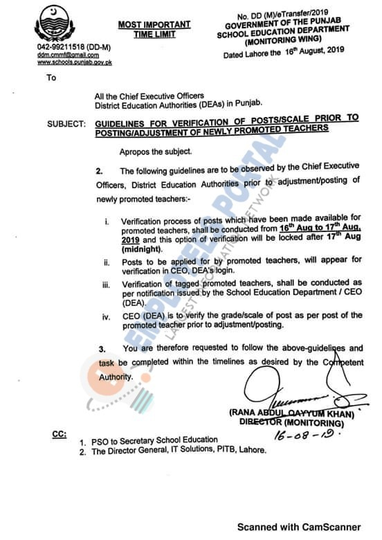 Guidelines for Verification of Posting / Adjustment of Newly Promoted Teachers