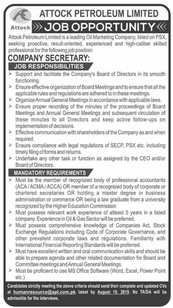 Latest Jobs Attock Petroleum Limited 5 August 2019