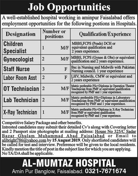 Latest Jobs Faisalabad Al Mumtaz Hospital 04 August 2019