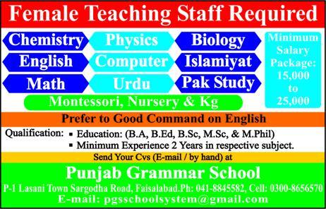 Latest Jobs Faisalabad Punjab Grammar School 04 August 2019
