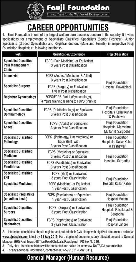 Latest Jobs Fauji Foundation Hospital 04 August 2019