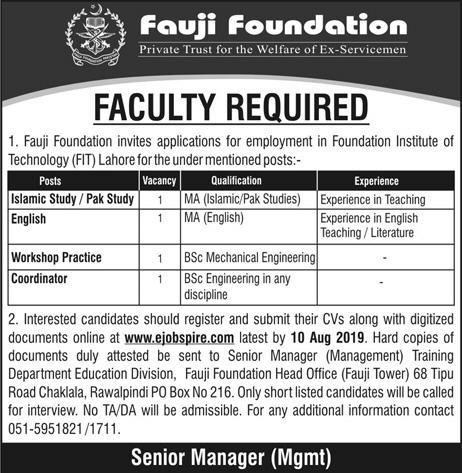 Latest Jobs Fauji Foundation Lahore 04 August 2019