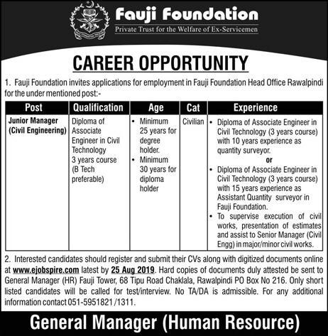 Latest Jobs Fauji Foundation Manager 04 August 2019
