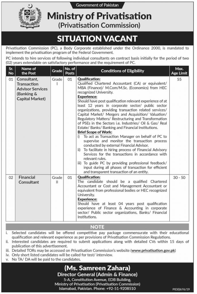 Latest Jobs Govt of Pakistan Ministry of Privatization 04 August 2019
