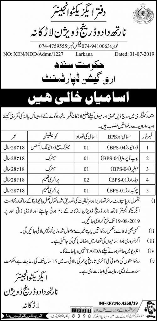 Latest Jobs Irrigation Department Larkana 04 August 2019