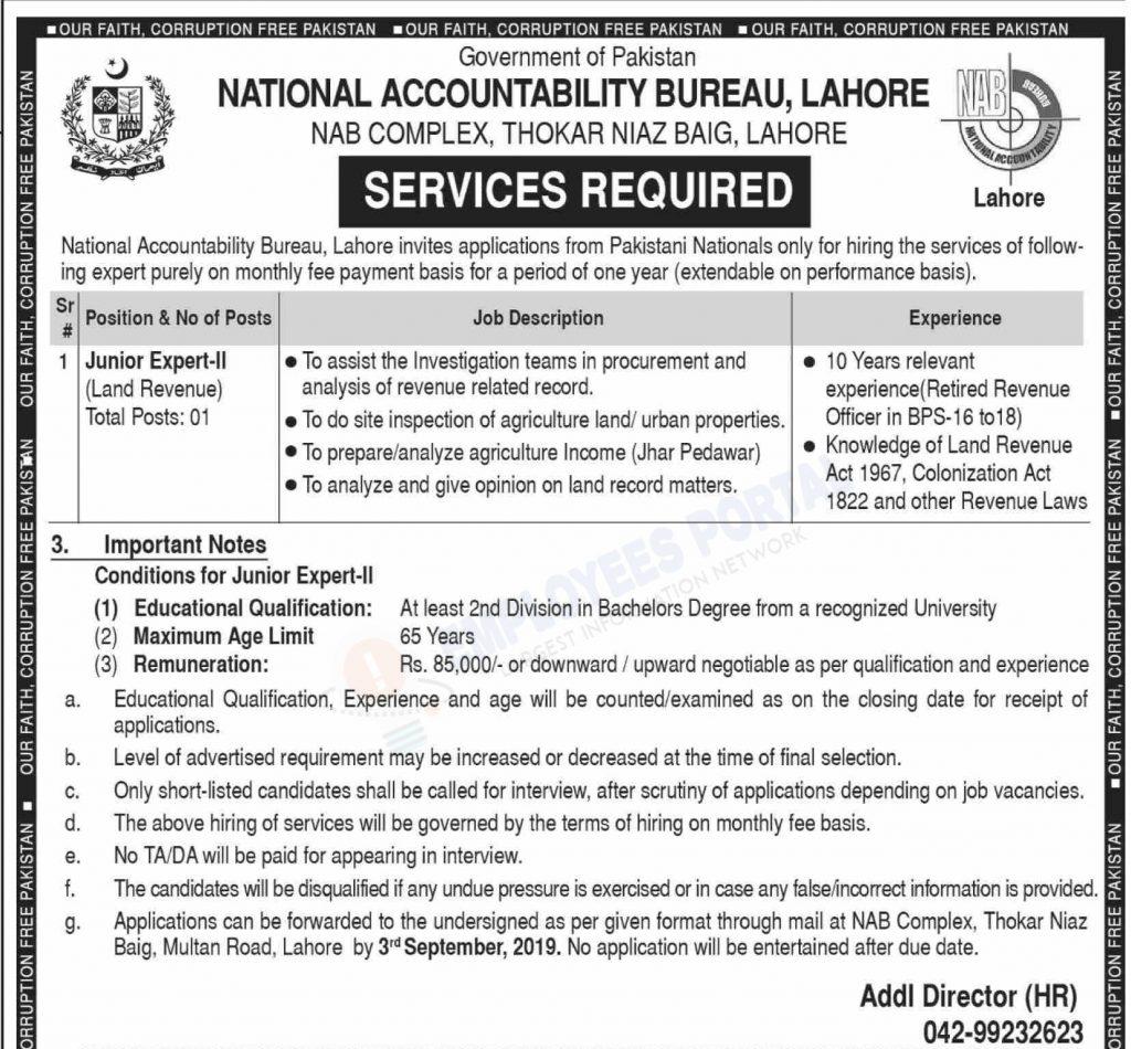 Latest Jobs Lahore National Accountability Bureau NAB 20 August 2019