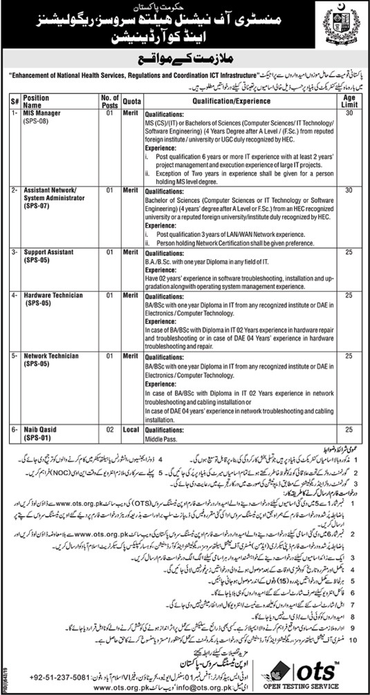Latest Jobs Ministry of National Health Services 04 August 2019