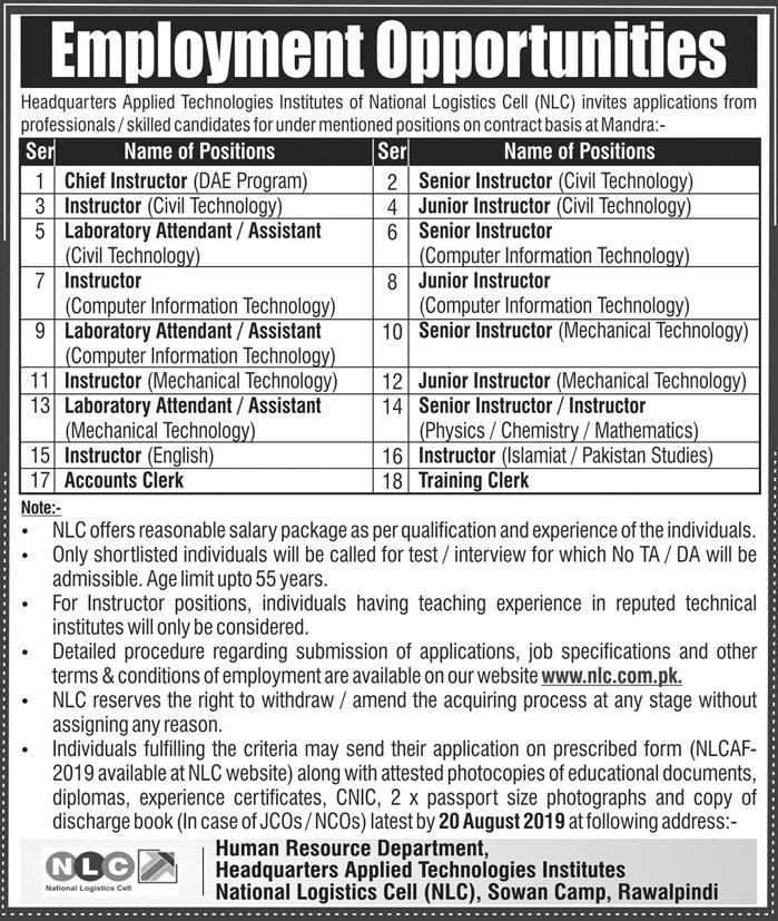 Latest Jobs NLC National Logistics Cell 04 August 2019
