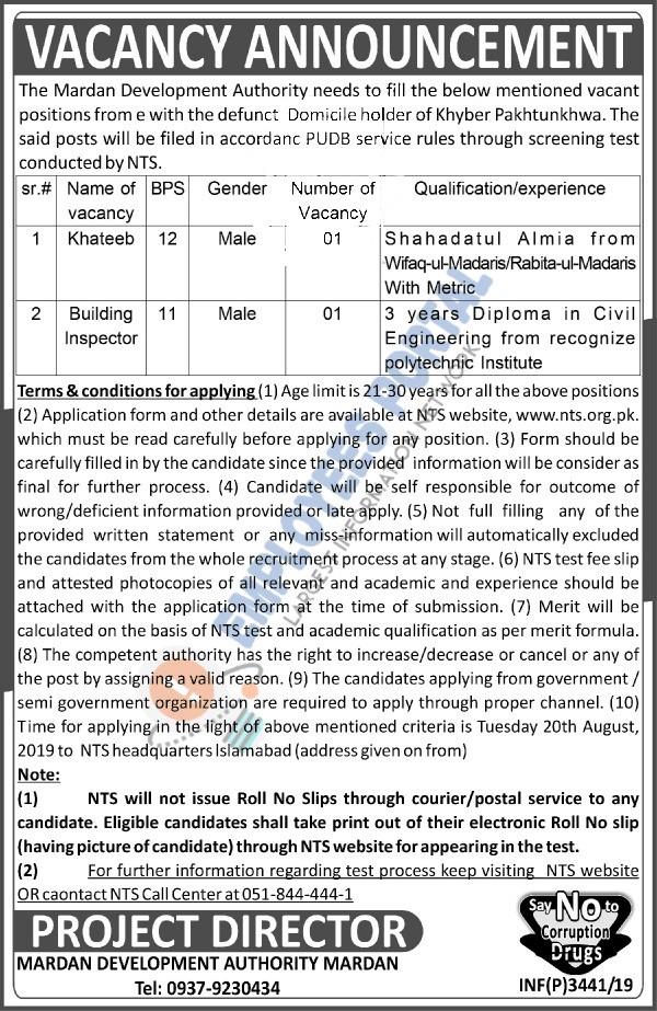Latest Jobs NTS Mardan Development Authority 17 August 2019