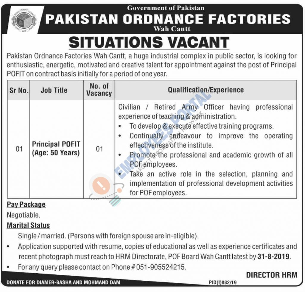 Latest Jobs POF Wah Cantt Principal POFIT 17 August 2019