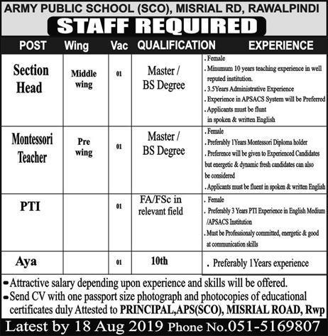 Latest Jobs Rawalpindi Army Public School 04 August 2019