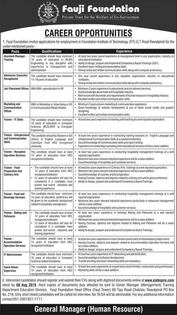 Latest Jobs Rawalpindi Fauji Foundation 04 August 2019
