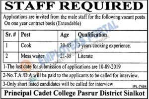 Latest Jobs Sialkot Cadet College Pasrur 22 August 2019