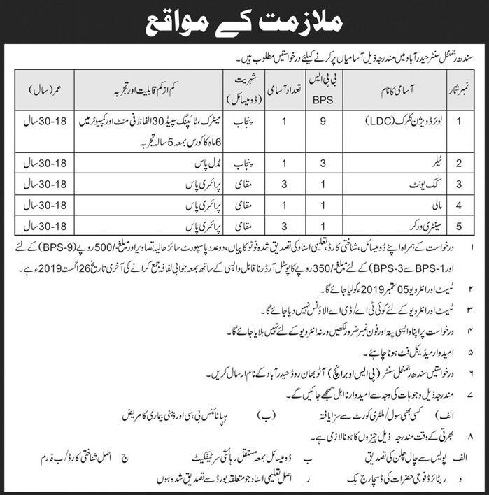 Latest Jobs Sindh Regimental Centre Hyderabad 04 August 2019
