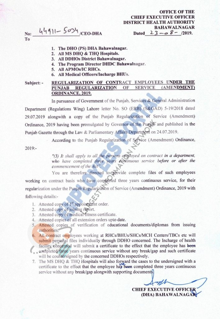 Notification Regularization Contract Employees 2019 Health Authority