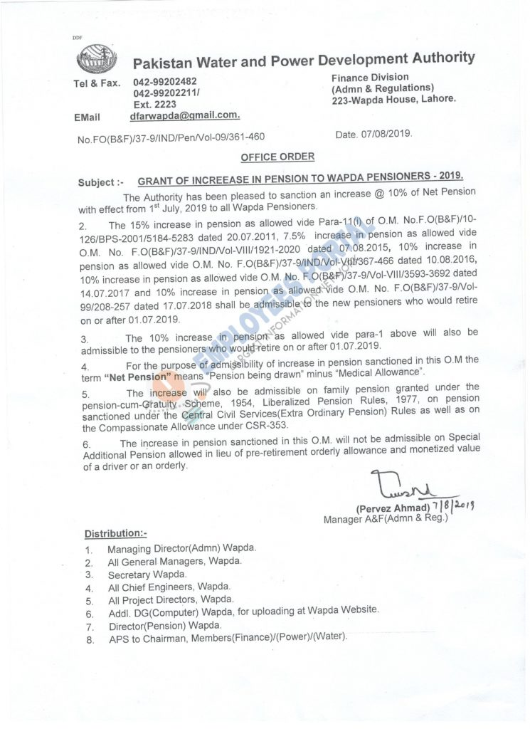 Notification of Increase in Pension to WAPDA Pensioners 2019