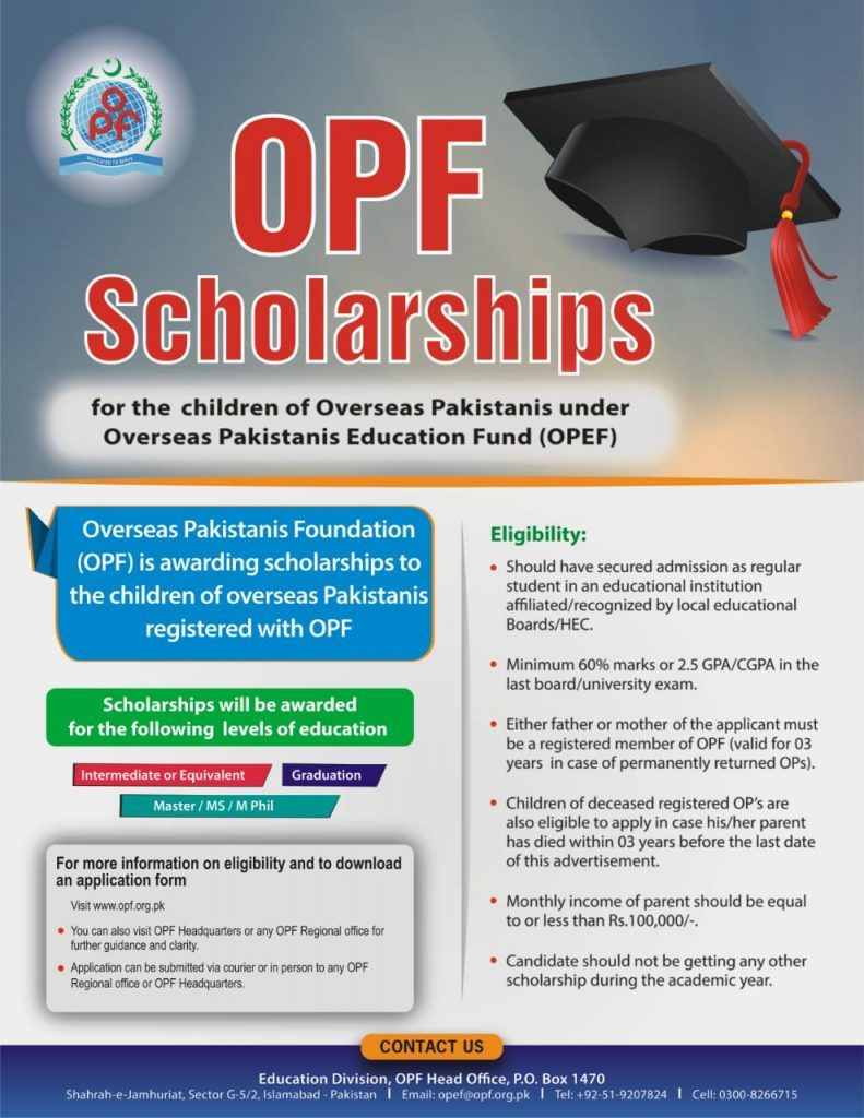 Overseas Pakistani Foundation Scholarship 2019 with Form Download