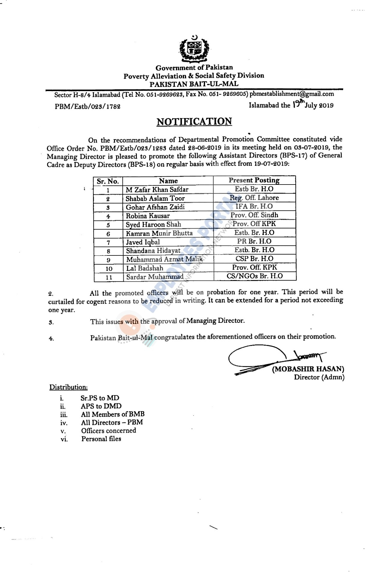 Pakistan Bait-ul-Mal Assistant Director Promotion as Deputy Director 2019