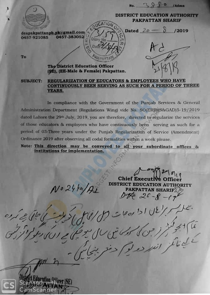 Regularization of Educators and Employees Who have Completed Three Years Service