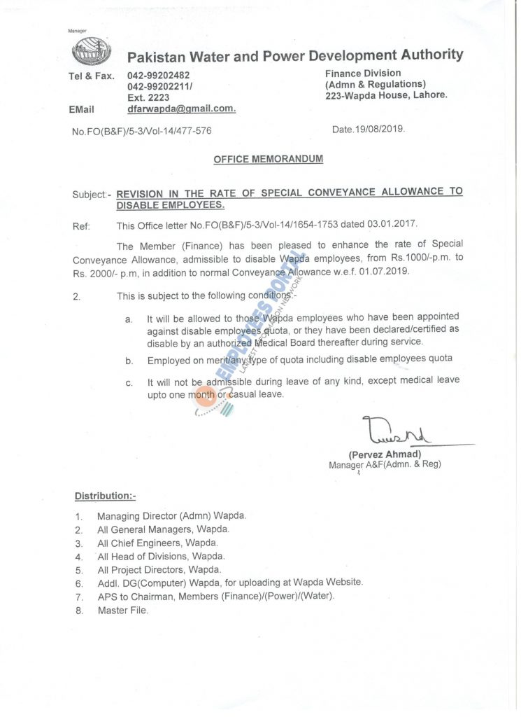 Revision in the Rate of Special Conveyance Allowance to Disable Employees WAPDA