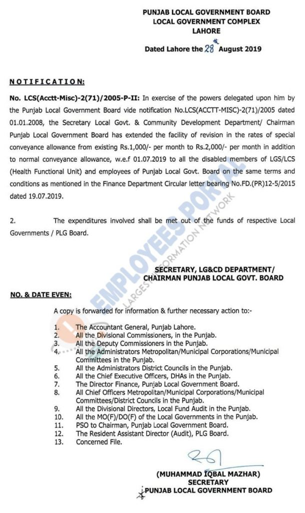 Revision of Special Conveyance Allowance 2019 for Health Functional Unit & Local Govt Disable Employees