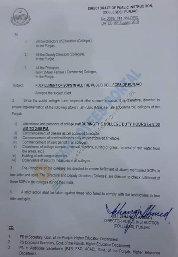 SOPs Fulfillment in Punjab Public Colleges