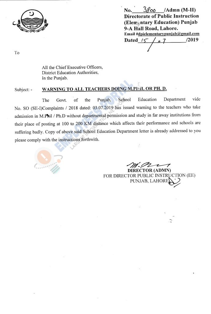 Warning for Teachers doing M.Phil or PH.D without NOC