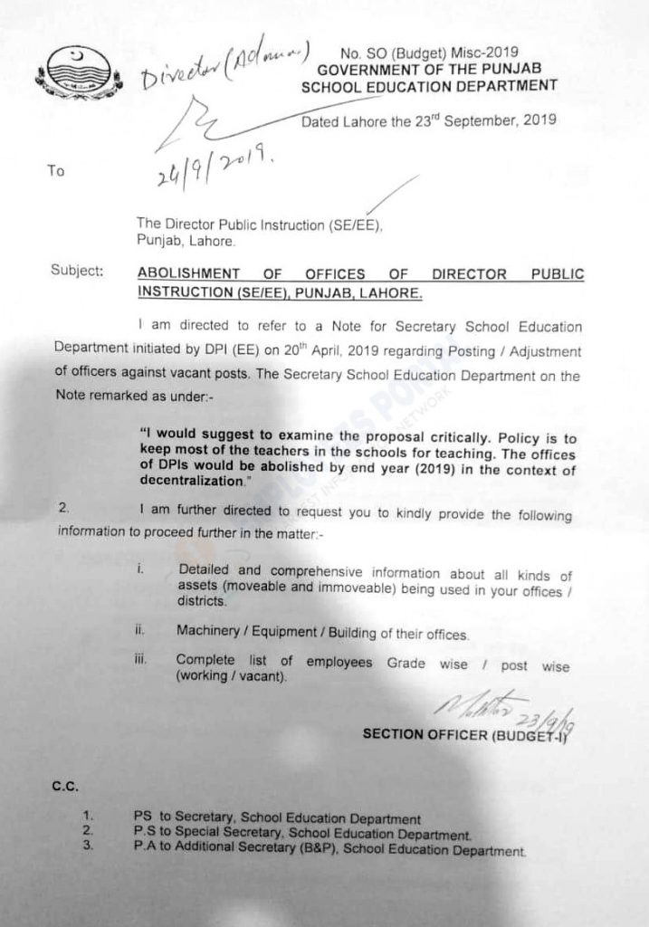 Abolishment of Officers School Education Department