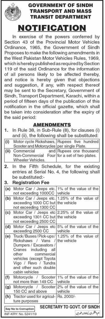 Amendment in Motor Vehicle Rules 1969 Sindh Transport Department