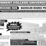 Bachelor Degree Programs BS 4-Years Admission Open GC University Hyderabad 2020 Infographics