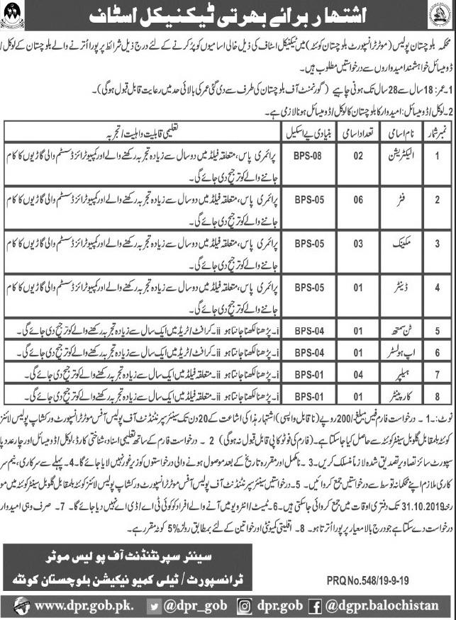 Balochistan Police Jobs 2019 Latest