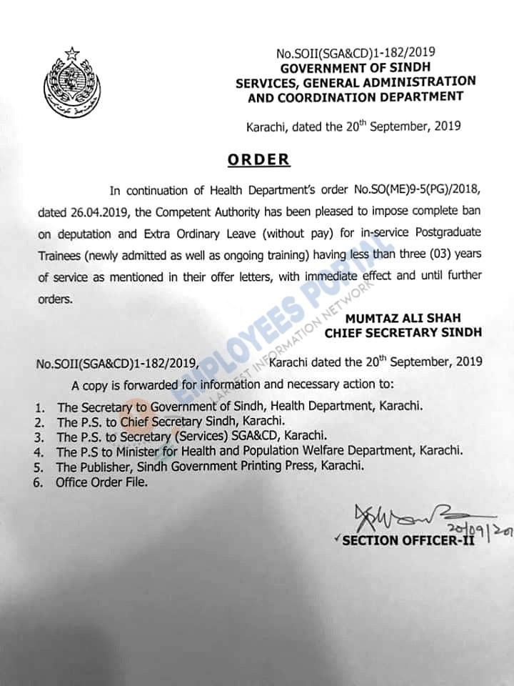 Ban on Deputation & Extra Ordinary Leave Sindh