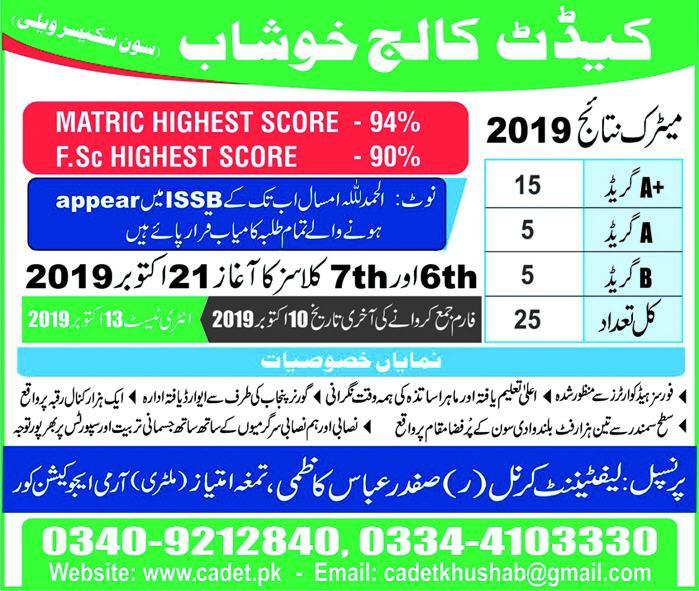 Cadet College Khushab Admission to Class 6TH, 7TH 2019 Infographics