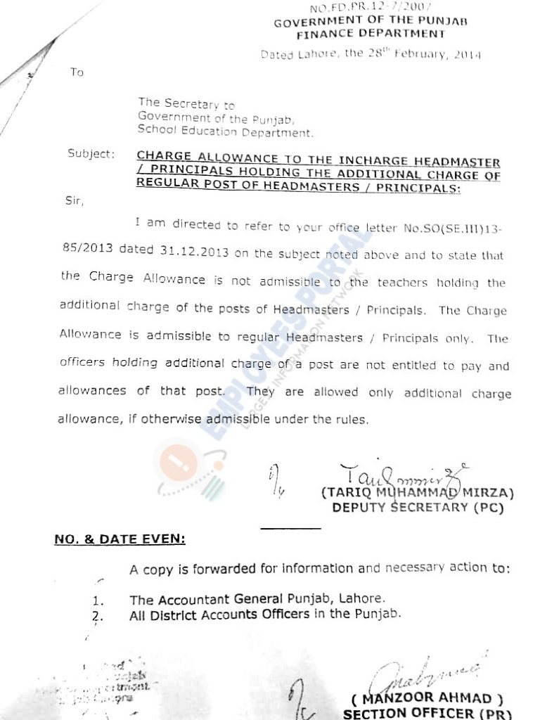 Charge Allowance for Headmasters / Principals Notification Punjab 2014