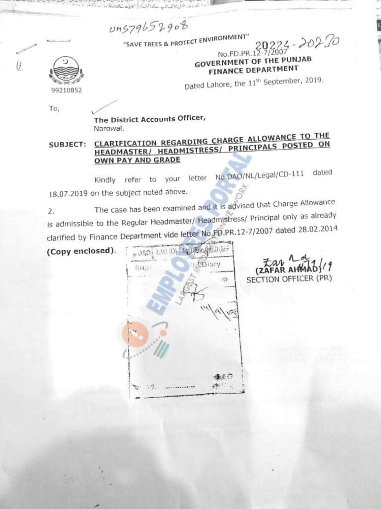 Clarification Regarding Charge Allowance to the Headmasters/Headmistress/Principals