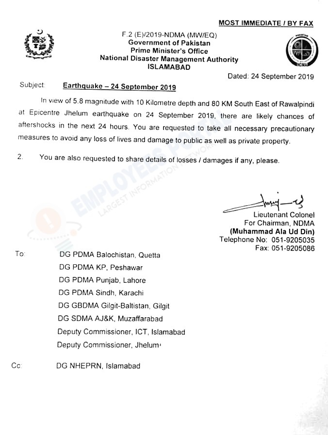 Earthquake - 24 September 2019