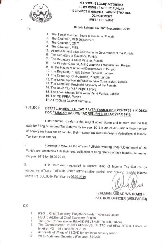 Establishment of Taxpayer Facilitation Centers  KIOSKS for Filing Income Tax Return 2019